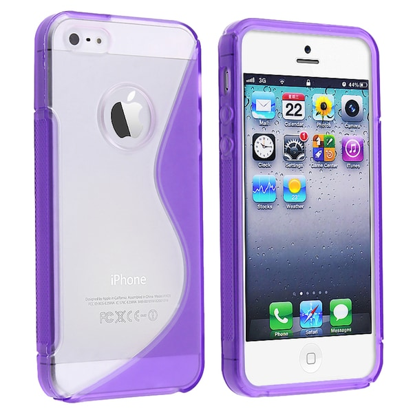 BasAcc Clear/ Purple Skin Case for Apple iPhone 5