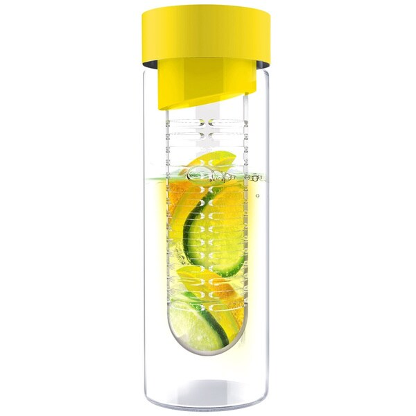 Flavour It Yellow Glass Water Bottle Fruit Infuser