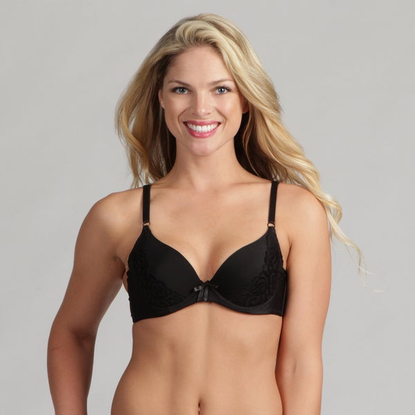 24/7 Frenzy Lacy Black Molded Bra
