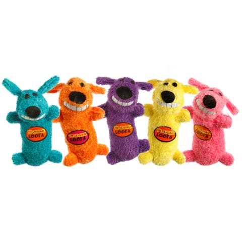 Multipet International Assorted Colors 6-inch Mini Dog Loofa Toy