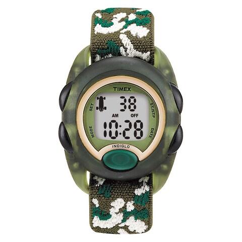 Timex Boys T71912 Time Machines Digital Green Camouflage Elastic Fabric Strap Watch