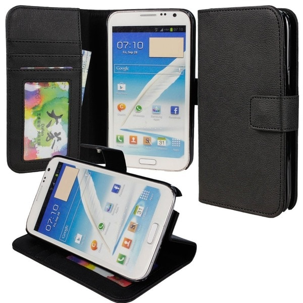 Deluxe Samsung Galaxy Note 2 N7100 Black Stand Case