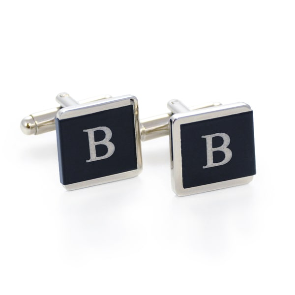 Silvertone Black and White Engraved Initial Tuxedo Cuff Links