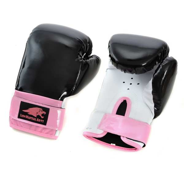 Lion Martial Arts Women's Pink/ Black 12-oz Boxing Gloves