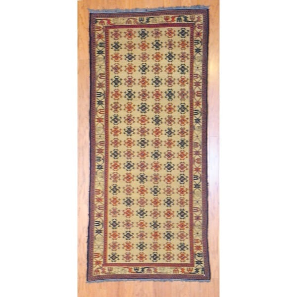 Afghan Hand-knotted Tribal Soumak Gold/ Black Wool Rug (3'3 x 7'3)