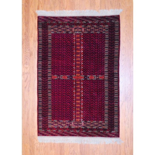 Afghan Hand-knotted Tribal Turkoman Red/ Navy Wool Rug (4'2 x 6')