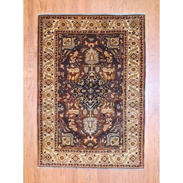 Afghan Hand-knotted Tribal Vegetable Dye Brown/ Ivory Wool Rug (4' x 6')