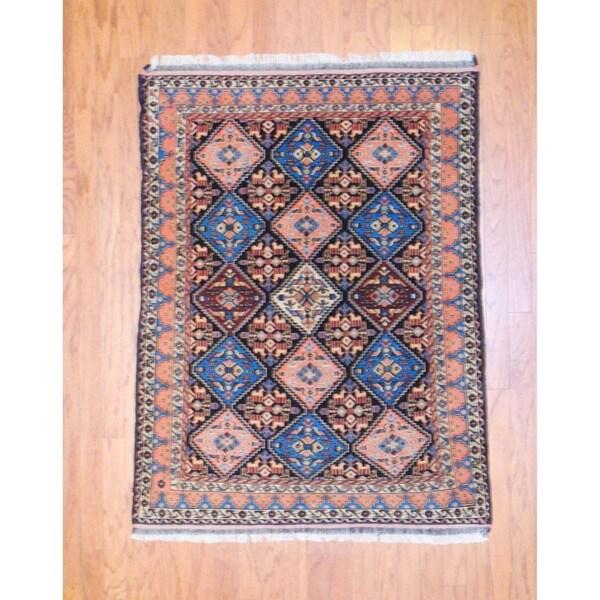 Persian Hand-knotted Tribal Kurdish Peach/ Light Blue Wool Rug (4' x 5'3)