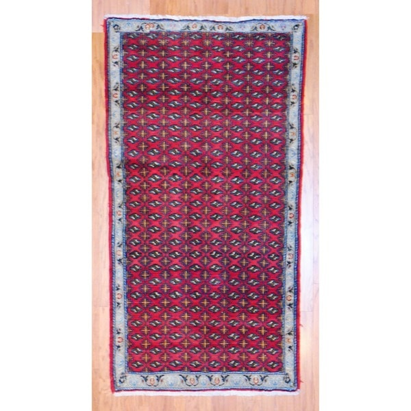 Persian Hand-knotted Tribal Balouchi Red/ Light Blue Wool Rug (4' x 7'7)