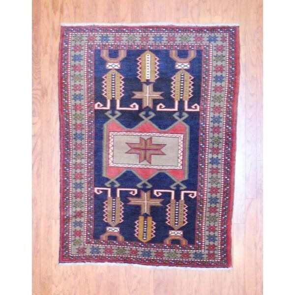 Persian Hand-knotted 1960s Tribal Hamadan Black/ Ivory Wool Rug (4' x 5'4)