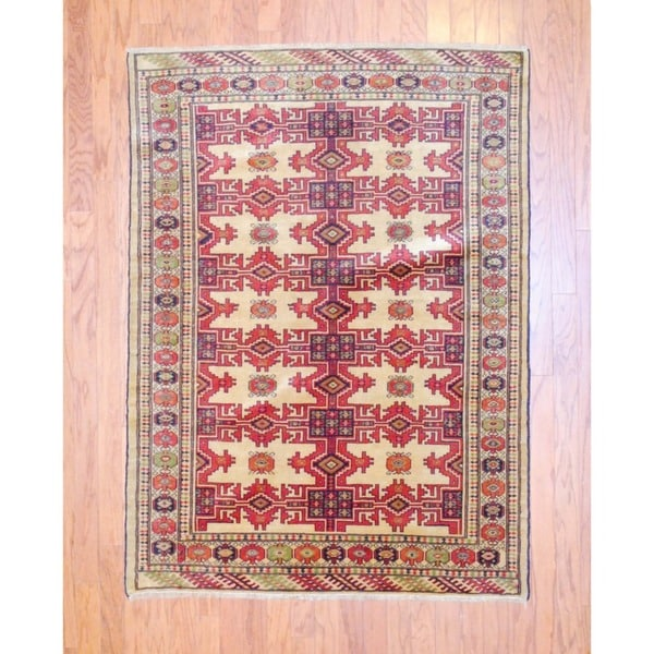 Persian Hand-knotted 1950s Turkoman Ivory/ Red Wool Rug (4'3 x 5'10)
