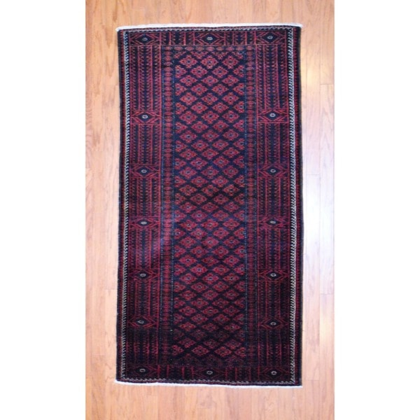 Persian Hand-knotted 1960s Balouchi Red/ Black Wool Rug (3'7 x 6'9)