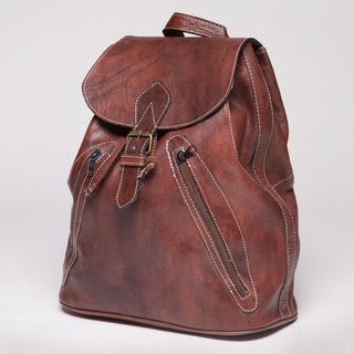 Natural Brown Leather Backpack (Morocco)