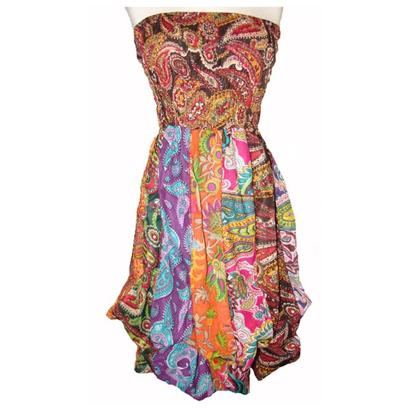Women's Multicolored Cotton Sleeveless Bubble-hem Dress (Nepal)
