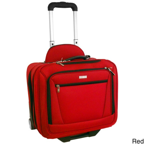 H2T Executive Red 14-inch Rolling Laptop Case Upright
