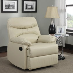 Tucker Almond Bonded-Leather Recliner