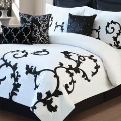 piece amazon damask dp bedding and com classic white noir full comforter set comforters reversible black