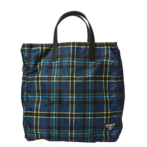 Prada 'VA0905 2ALX F0JZM' Plaid Nylon Tote Bag