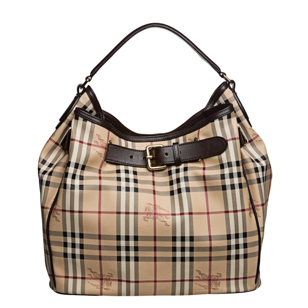 Burberry '3805009' Medium Haymarket Check Belted Hobo Bag