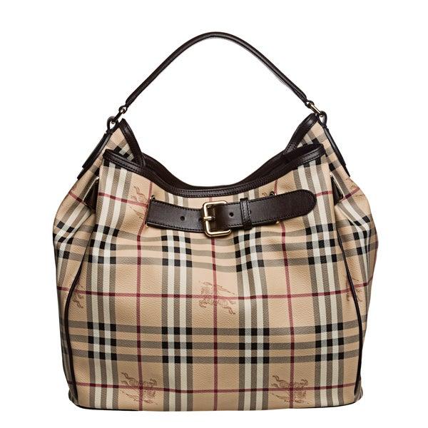 Burberry '3805009' Medium Haymarket Check Belted Hobo Bag