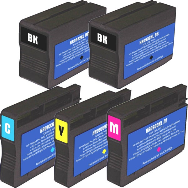 HP 932XL 933XL Black Colors Ink Cartridge Pack of 5 (Remanufactured)