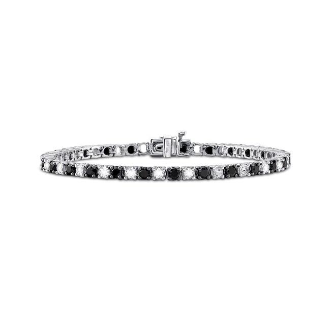 Sterling Silver Black Spinel and Crystal Tennis Bracelet ...