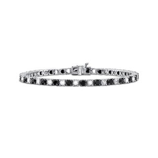 Sterling Silver Black Spinel and Crystal Tennis Bracelet