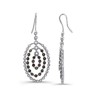 Silver 1 1/3ct TDW Diamond and White Sapphire Earrings (J-K, I2-I3)