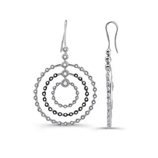 Silver 2/5ct TDW Diamond and White Sapphire Earrings (J-K, I2-I3)