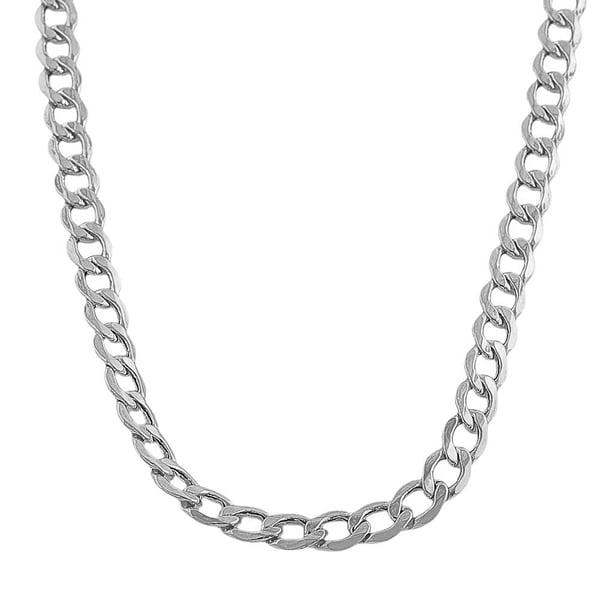 Fremada 10-karat White Gold 5.3mm Curb Chain (20-22 inch)
