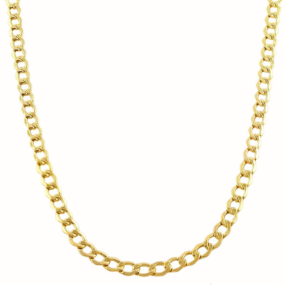 Fremada 10-karat Yellow Gold 3.6mm Semi-solid Curb Chain ...