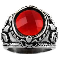 Stainless Steel Red Resin and Cubic Zirconia Fleur de Lis Ring