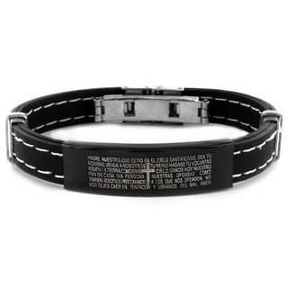 West Coast Jewelry Stainless Steel Spanish Lord's Prayer ID Rubber Bracelet
