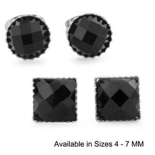 Black Onyx Polished Stainless Steel Stud Earrings