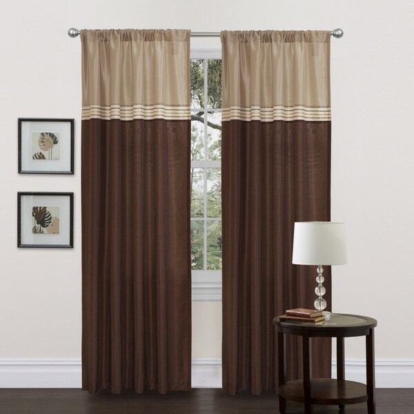 Lush Decor Terra Beige/ Brown 84-inch Curtain Panels (Set of 2)