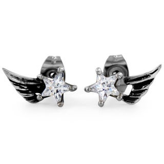 West Coast Jewelry Stainless Steel Star CZ Angelic Wing Stud Earrings