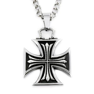 Stainless Steel Iron Cross within Celtic Cross Necklace