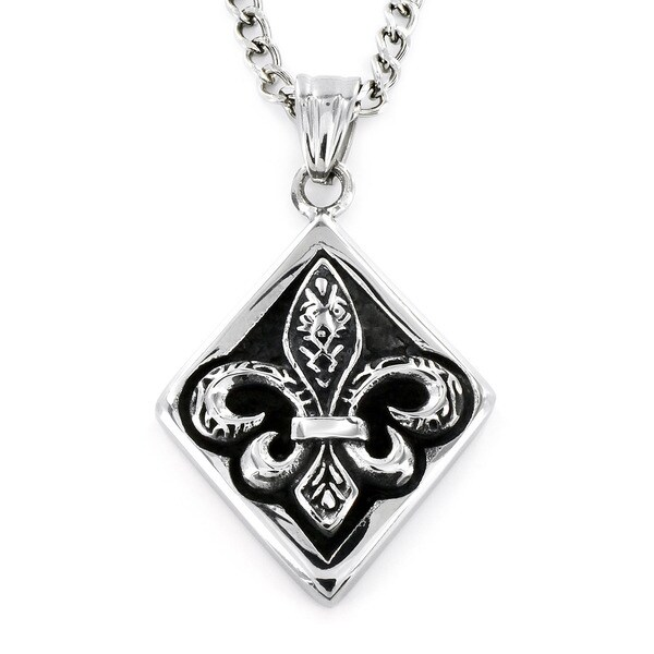 Stainless Steel Diamond Framed Royal Fleur De Lis Necklace