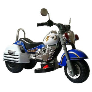 Harley Style Blue/ White 6-Volt Ride-on Motorcycle