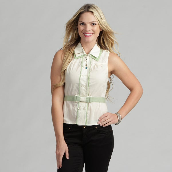 24/7 Frenzy Juniors Sleeveless Bow-dacious Ivory Belted Top