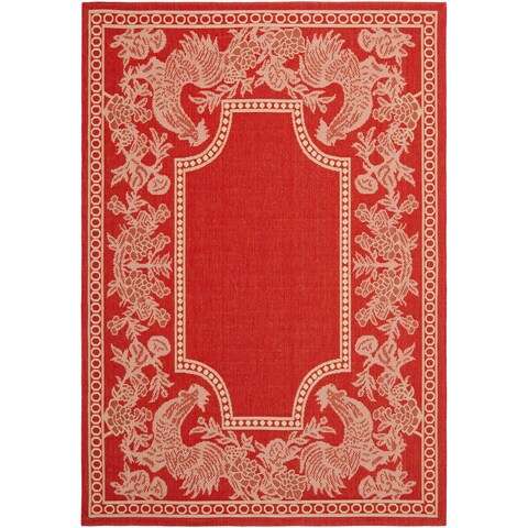Safavieh Rooster Red/ Natural Indoor/ Outdoor Rug