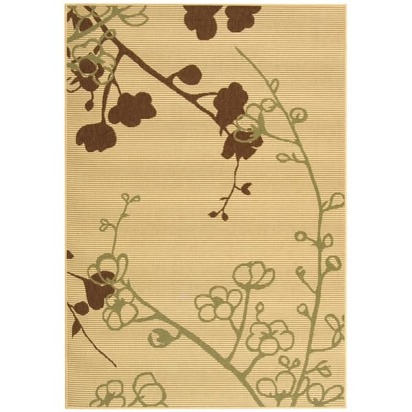 Safavieh Courtyard Floral Branches Natural/ Olive Green Indoor/ Outdoor Rug