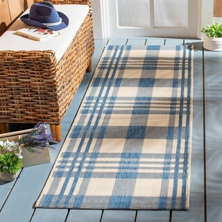 Safavieh Courtyard Plaid Black/ Bone Indoor/ Outdoor Rug
