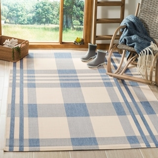 Safavieh Courtyard Beige/ Blue Indoor Outdoor Rug