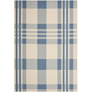 Safavieh Courtyard Plaid Beige/ Blue Indoor/ Outdoor Rug (More options available)