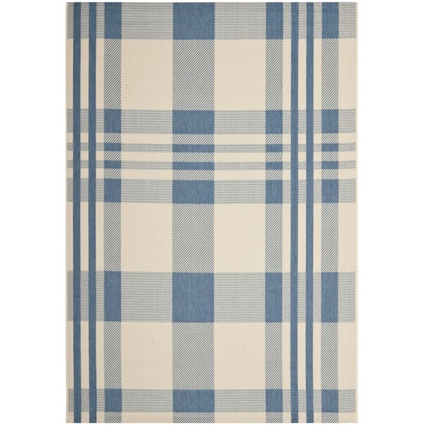 Safavieh Courtyard Plaid Beige/ Blue Indoor/ Outdoor Rug