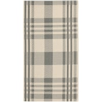 Safavieh Courtyard Plaid Grey/ Bone Indoor/ Outdoor Rug