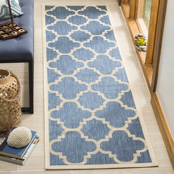 Shop Safavieh Courtyard Quatrefoil Blue Beige Indoor Outdoor Rug