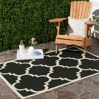 Safavieh Courtyard Black Beige Trellis Pattern Indoor/Outdoor Area Rug