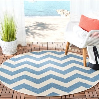 Delightful Safavieh Courtyard Chevron Blue/ Beige Indoor/ Outdoor Rug